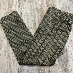 Ann Taylor gold and black jacquard print pants